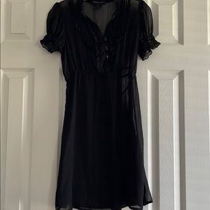 Black sheer tie dress with ruffles!